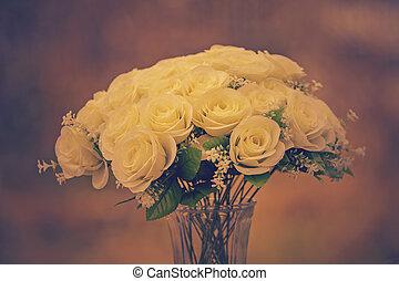 white roses flower bouquet cinema color process