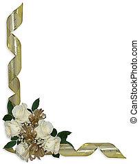 White roses gold ribbons Floral Border - White roses, gold...