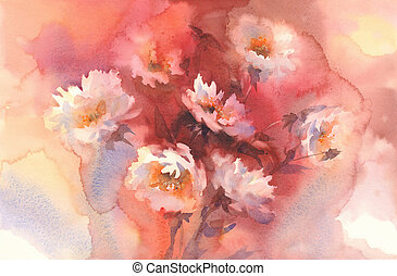 white roses in red background watercolor