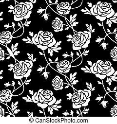 White roses on black