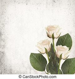 White roses on vintage background