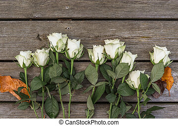 White roses on wooden background
