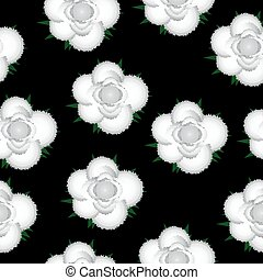 White roses seamless pattern background.