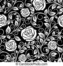 White roses seamless pattern on black background