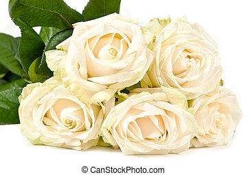 White roses - White rose bouquet isolated on white...