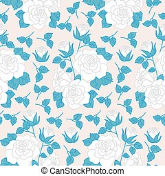 White roses with blue leaves, in a seamless pattern design
