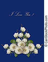White roses with I love Yoy on blue background