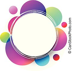 White round background with colorful circles.