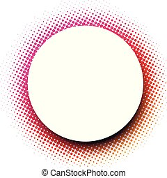 White round background with pink dotted pattern.
