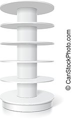 White round cardboard shelves for supermarket Vector isolated