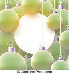White round frame with matt light green christmas balls hanging on threads. Space for text. Vector festive illustration.
