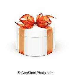 White Round Gift Box with Orange Ribbon and Bow Isolated on Background