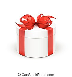 White Round Gift Box with Red Ribbon and Bow Isolated on Background