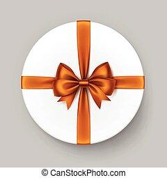 White Round Gift Box with Shiny Orange Satin Bow Ribbon