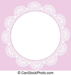 White round lacy frame on pink background