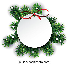 Paper white round gift card with red bow over green christmas tree branches. Vector illustration.