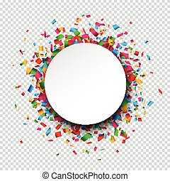 White round paper note over confetti. - Colorful celebration...
