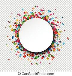White round paper note over confetti. - Colorful celebration...