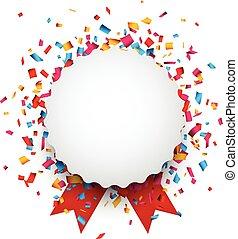 White round paper note over confetti. - Colorful confetti...