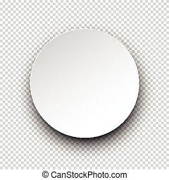 White round paper speech bubble.