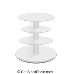 White Round POS POI Cardboard Floor Display Rack For Supermarket Blank Empty Displays With Shelves Products On White Background Isolated. Ready For Your Design.