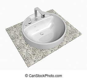 White round sink with chrome faucet, sitting on a granite table or slab