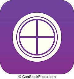 White round window icon digital purple
