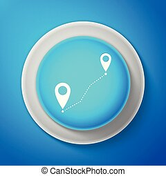 White Route location icon isolated on blue background. Map pointer sign. Concept of path or road. GPS navigator. Circle blue button with white line. Vector Illustration