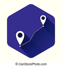 White Route location icon isolated with long shadow. Map pointer sign. Concept of path or road. GPS navigator. Purple hexagon button. Vector Illustration