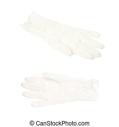 White rubber glove isolated