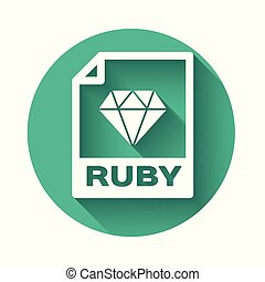 White RUBY file document icon. Download ruby button icon isolated with long shadow. RUBY file symbol. Green circle button. Vector Illustration