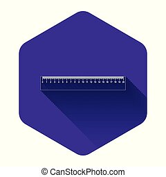 White Ruler icon isolated with long shadow. Straightedge symbol. Purple hexagon button. Vector Illustration