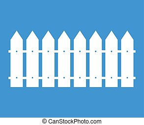 White rural wooden fence vector silhouette