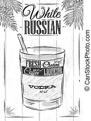 White russian cocktail in vintage style stylized painted on...