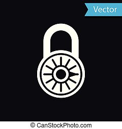 White Safe combination lock wheel icon isolated on black background. Combination padlock. Security, safety, protection, password, privacy concept. Vector Illustration