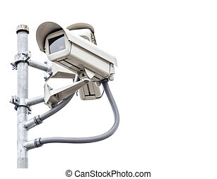White safety camera with white isolated background