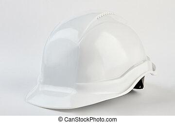 White safety helmet for foreman.