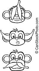 white), saggio, tre, scimmie, (black