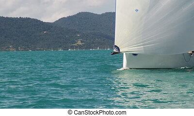 White sailboat coming through - A sailboat coming through....