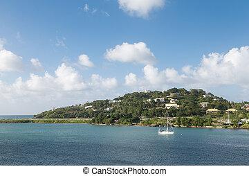 White Sailboat Moored off Coast of Tropical Island