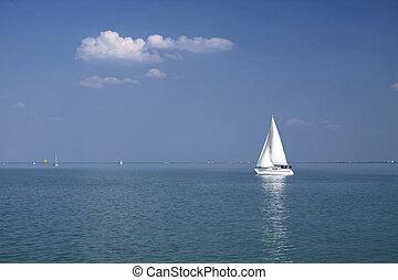 White Sailboat near Balatonf?red at Lake Balaton, Hungary