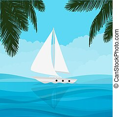 white sailboat sailing in blue clear water nature adventure...