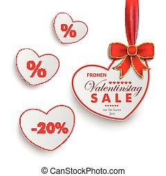 White Sale Hearts Red Ribbon Valentinstag - White paper...