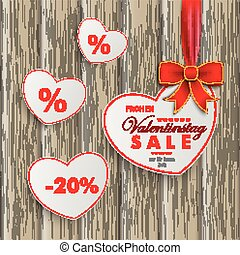 White Sale Hearts Red Ribbon Valentinstag Wooden Background...