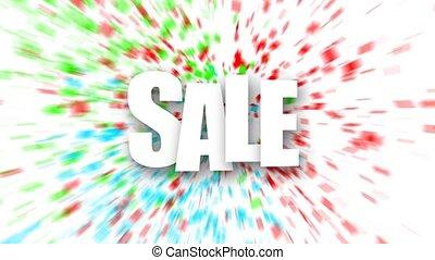 White sale sign over colorful confetti background
