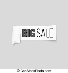 White sale sign, paper banner, vector ribbon with shadow isolated on gray