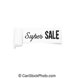 White sale sign, paper banner, vector ribbon with shadow isolated on white