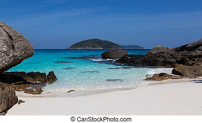 White sand beach and turquoise blue sea
