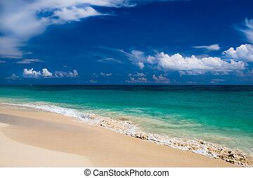 White sand beach blue ocean
