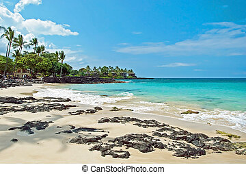 White sand beach on Hawaii Big Island with azure ocean in...